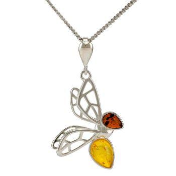 P082-241  Cognac & Lemon Amber silver Bee pendant