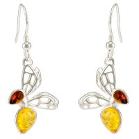 E089-437  Cognac and Lemon amber Bee earrings