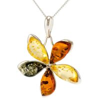 P063-256  Multicolour Amber stones set in Silver flower Pendant