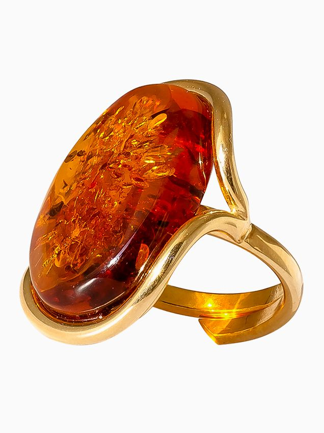 R013-506  Cognac Amber gold plated silver cocktail ring