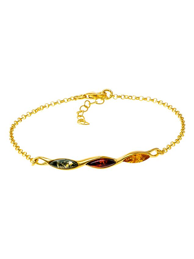 D029-305   Multicolour amber and gold plated silver bracelet