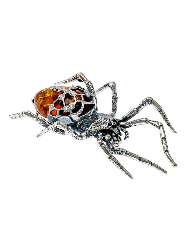 H017-612 Cognac Amber & cubic zirconias silver Spider brooch