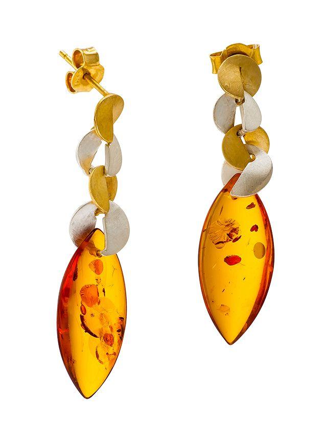 Cognac  Amber matt silver & gold plated earrings