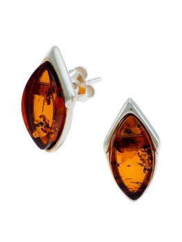 E091-438  Marquise style Amber & silver stud earrings