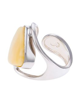 R014-507  Scandi Milky amber and sterling silver adjustable ring