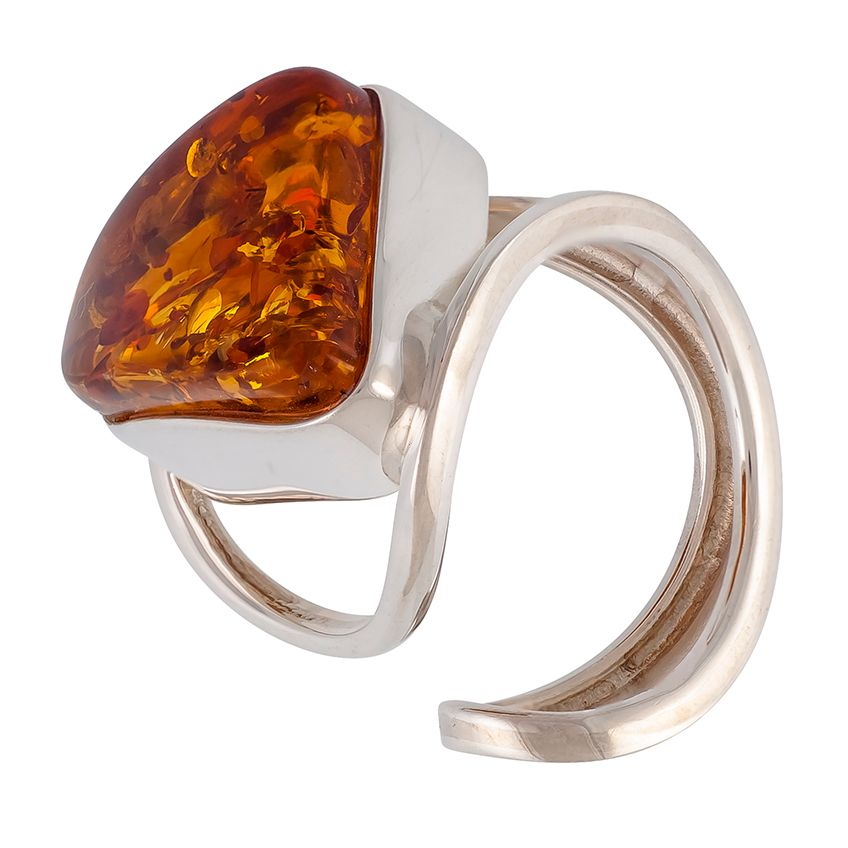 R011-511 Triangular Cognac Amber Silver adjustable Ring