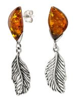 E094-413  Amber Feather Drop Earrings, Silver/Cognac