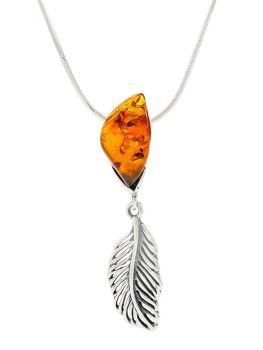P086-204  Amber Feather Pendant Necklace, Silver/Cognac