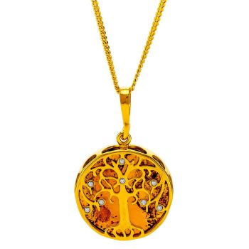 P074-218  Amber and Cubic Zirconia Tree Pendant Necklace, Gold/Cognac