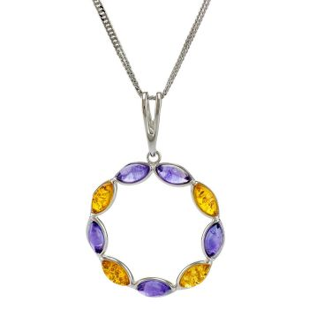 P077-220  Lemon Baltic Amber and Amethyst Pendant