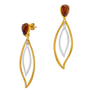 443-Baltic Amber Double Leaf Drop Earrings, Gold/Silver