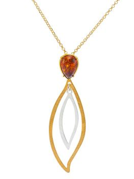 P083-101-Pear Shape Amber Double Leaf Pendant Necklace, Gold/Silver