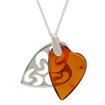 P091- 222  Cognac Amber Filigree Double Heart Pendant Necklace