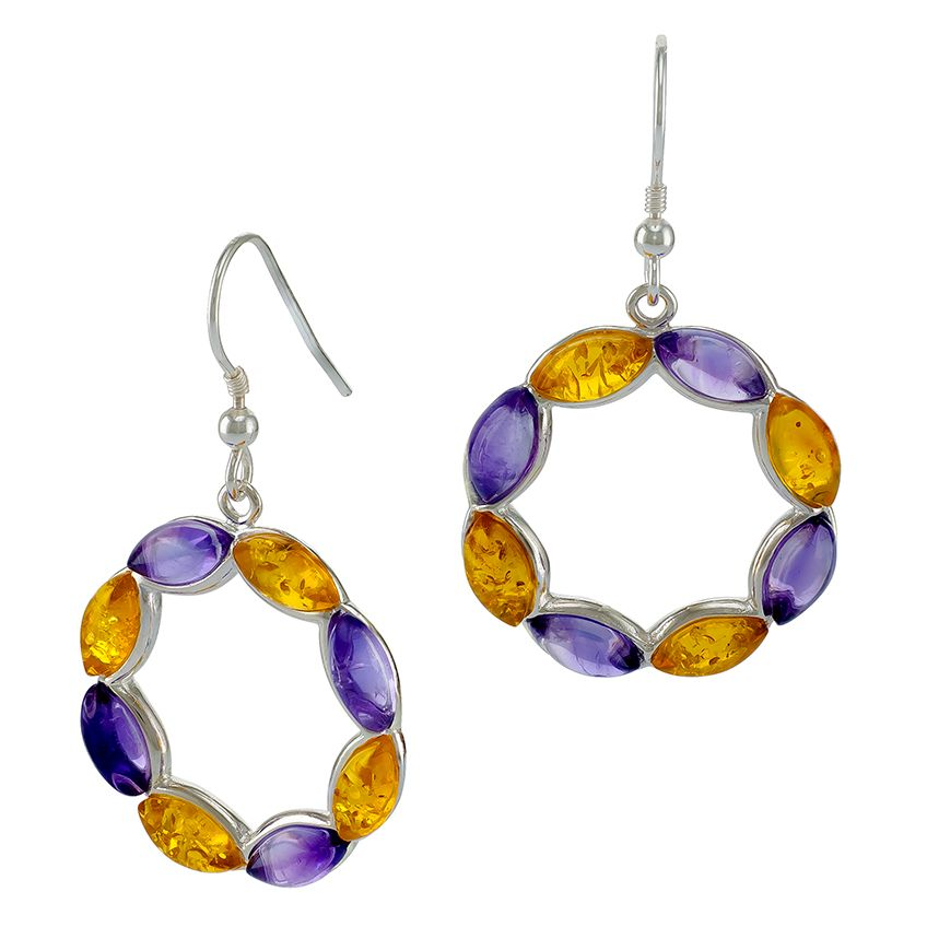 E084-414  Amethyst, Lemon Amber Silver Drop Hook Earrings