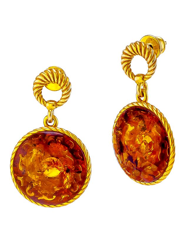 Cognac Amber drop stud earrings in gold plated silver