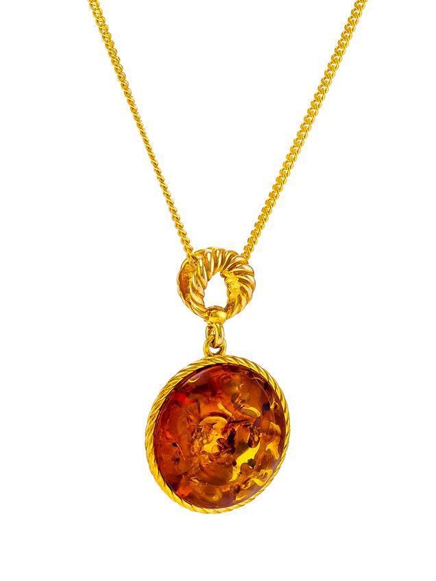 P084-244  Cognac Round Amber Pendant Necklace