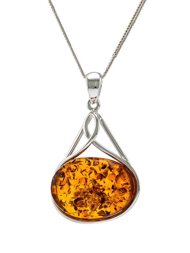 P089 214  Baltic cognac Amber and sterling silver pendant