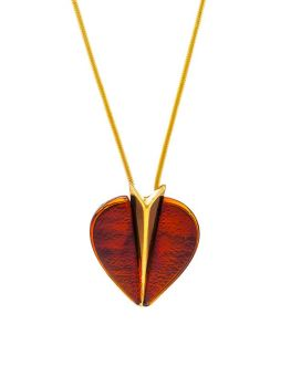 P090  Cognac Amber and Gold plated silver heart pendant