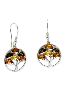 E098  Multicolour Amber silver tree style earrings