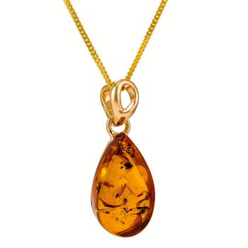 P080-236   Teardrop Amber Pendant Necklace, Gold/Cognac