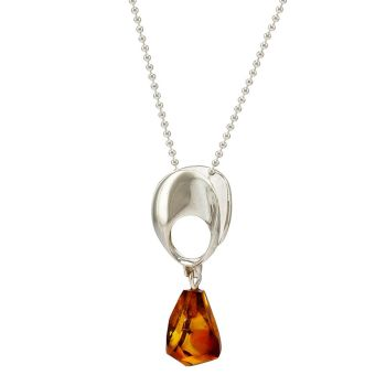 P081-237   Scandi Silver Cognac Amber Pendant