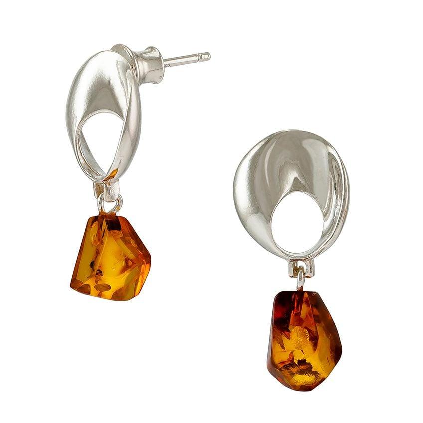 E087-435  Scandi Silver Cognac Amber Drop  Earrings