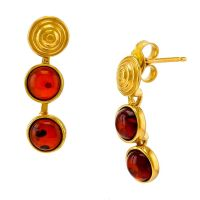 E088-436  Gold Plated Silver Cognac Amber Gold shell stud Earrings