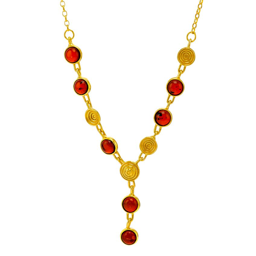 N029-239   Gold Necklace Cognac Amber Gold shells