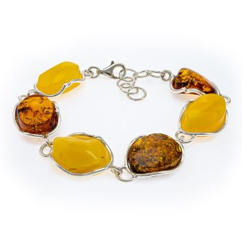 Multi coloured Amber and Sterling Silver Bracelet
