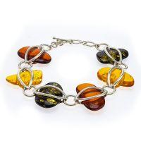 D031 Sliced Multicolour Amber Silver Pebbles Bracelet