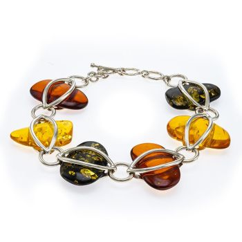 D031 Sliced Multicolour Amber Silver Pebbles Bracelet