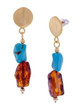 E107 - 421 Cognac Amber, turquoise and gold  tone silver stud earrings