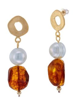 E106 - 415 Cognac Amber, pearl and gold  tone silver  circle earrings