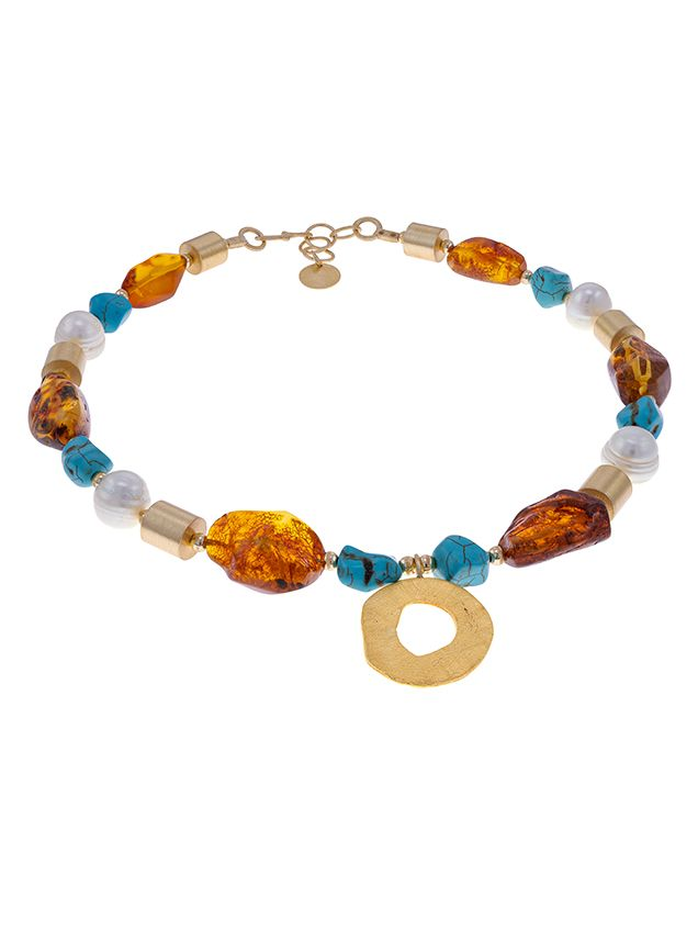 N030 - 239 Baltic Amber, Pearl and turquoise necklace