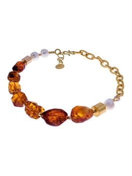 N031 - 226 Baltic Amber, Pearl chain necklace.