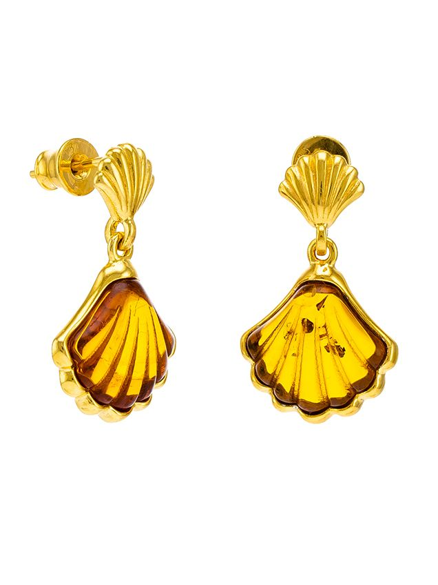 Cognac Amber and gold plated silver shell earrings.