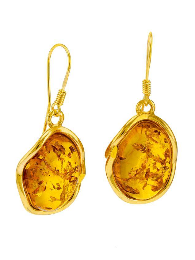 E099 - 219 Cognac Amber gold plated silver drop earrings