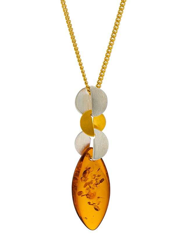 P092 - 213 Cognac pendant with duo matt silver and gold plated silver eleme