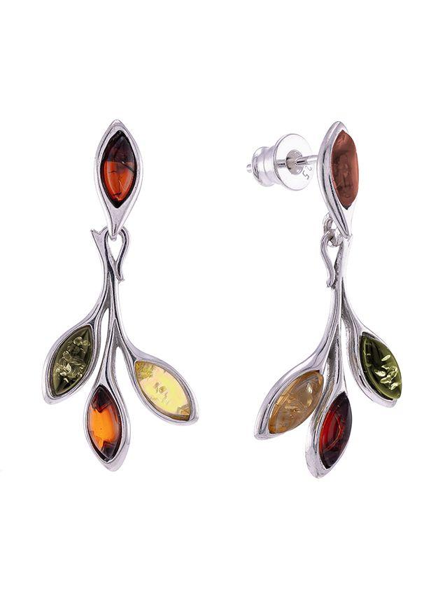 Multicolour Amber marquise cut drop stud earrings