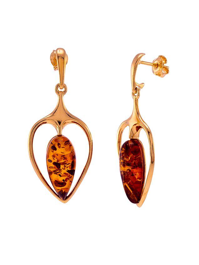 Cognac Amber gold plated silver Scandi drop stud earrings.