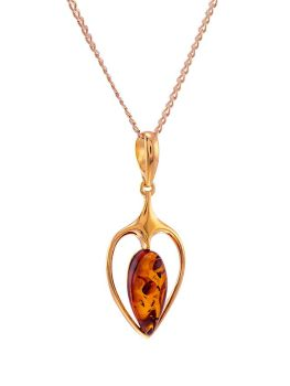 P097 - 234  Amber and gold plated silver Scandi pendant and 46 cms gold plated silver curb chain.