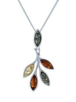 P094 - 228 Multicolour Amber marquise cut pendant