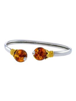A008 - 312 Cognac Amber with gold plated silver flower and silver open flexible bangle