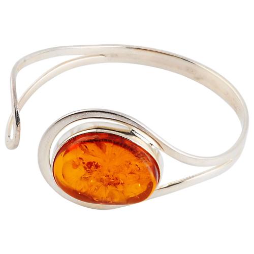 Oval Amber Curved Bangle