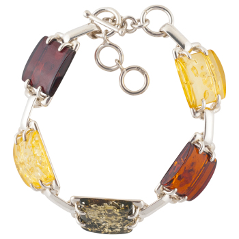 D003 - Multicoloured Amber And Silver Segment Bracelet