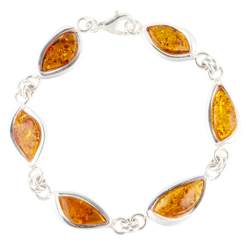 Marquise Amber and Silver Bracelet