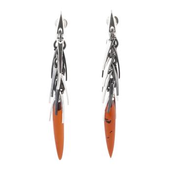 Amber Cluster Drop Earrings