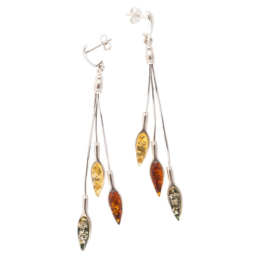 Autumn Leaf Amber Earrings