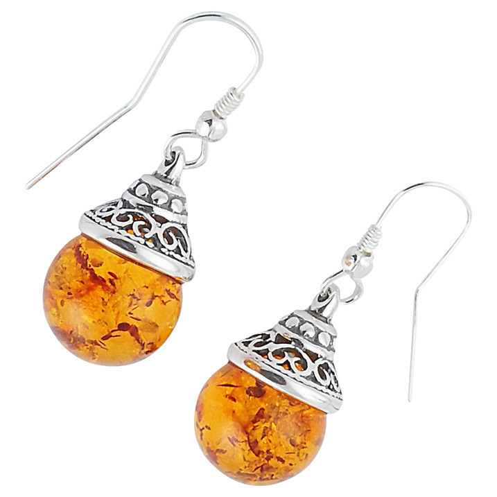 Ball Drop Amber and Silver Earrings