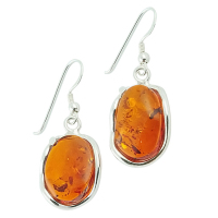 Free Form Oval Amber and Silver Drop Earrings